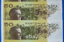 AUSTRALIAN UNC 1973 $50 Cons x 5 PHILLIPS WHEELER AUS R505 CRISP FLAT BANK NOTES