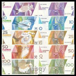 Aruba Set 5 PCS, 5 10 25 50 100 Florin, P-6 11 12 13 14, Banknote, UNC
