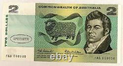 Australia 1966. 2 Dollars Banknote. Rare Specimen Note Choice Uncirculated