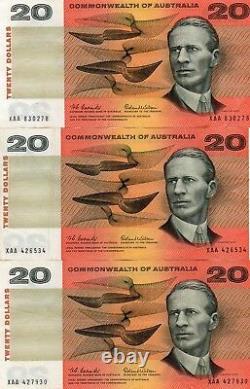 Australia 1966 Coombs/Wilson 3 NOTES $20 FIRST PREFIX XAA CRISP aEF Banknotes