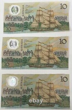 Australia 1988. 10 Dollar Banknotes. Consecutive Trio. Last Prefix