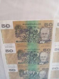 Australia 35pc uncut 50$ banknote sheetno framelow number 15