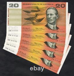 Australia R-401. (1966) Coombs/Wilson 20 Dollars. UNC CONSECUTIVE Run of 5