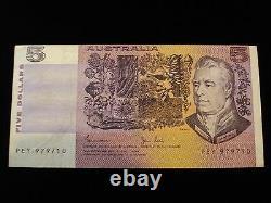 Australian 5 Dollar Note Johnston / Stone Cut Error Off Center Print Error #ZY1b