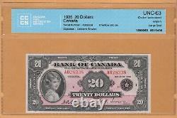 BANK OF CANADA $20 Dollars ENGLISH CCCS-63 UNC 1935 BC-9a/P-46a QEII Banknotes