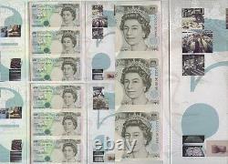 BANKNOTES GB 1993 £5 Uncut. WEB +SHEET Printing. Debden Packs 6 Notes. Matching