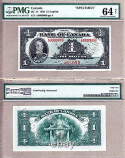 BC-1s 1935 $1 Bank of Canada Specimen Note, PMG CH UNC64. Very Rare Note