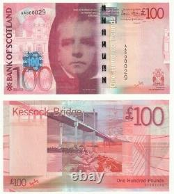 Bank of Scotland £100 Banknote Low number AA000029 (2007) aU/UNC