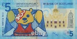 Bank of Scotland 2015 Polymer £5 S/N PUDSEY34 ONLY 50 Printed UNC V. V Rare