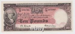 Banknote 1954 Australia 10 pound R62f Coombs Wilson 1st prefix WA00 UNC, scarce