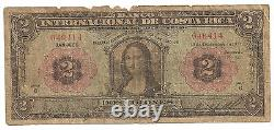Banknote COSTA RICA 2 Colones TWO 1931 Mona Lisa note P 167 RRR