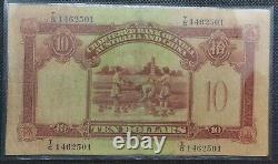 British HK Banknote Chartered bank of India, Australia & China 1941 $10 Bill