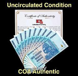 Buy Zimbabwe Banknotes Zimbabwe 100 Trillion Dollars AA 2008 UNC, COA Included