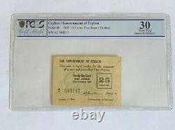 CEYLON 1942 25 Cents First Issue/ Uniface