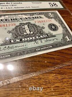 Canada French Banknote. 1 Dollar 1935. PMG 58 CAU Graded S/N F2681238 pp