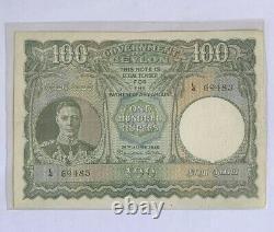 Ceylon British (1945 Rare) 100 Rupee High Grade Beautiful Rare Bank Note
