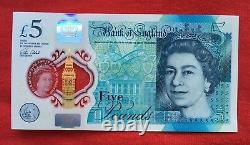 Collectors! 5 Pound Note AA01 New, UNCIRCULATED, LOW NUMBER! Polymer, 2016