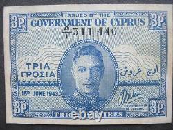 Cyprus 3 Piastres banknote 1943, serial no A/1 311446, scarce
