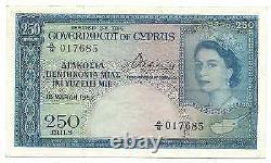 Cyprus Banknote 250 Mils 1957 P33 Key Date gVF++-aXF Queen Elizabeth Rare Free