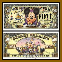 Disney 50 Dollars, 2005 A Series 50th Anniversary, Mickey Mouse Uncirculated