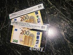 EURO 200 BANKNOTE PMG 68 DRAGHI ITALY P25 s 2019 S ULTRA RARE PPQ PMG