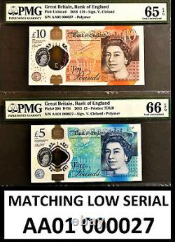 England Matching £5 & £10 Polymer LOW Serial AA01 000027 GEM UNC PMG 65 66 EPQ