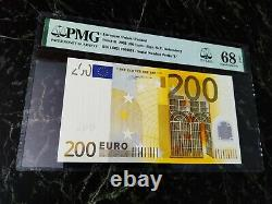 Euro 200 Banknote Pmg 68 W. F. Duisenberg Finland 2002 L Ultra Rare Top 1