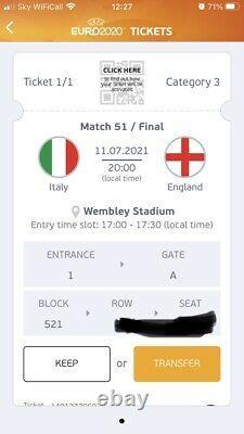 Euro 2020 Final Ticket England V Italy