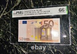 Euro 50 Banknote Pmg 66 W. F. Duisenberg Finland 2002 L Rare Rare