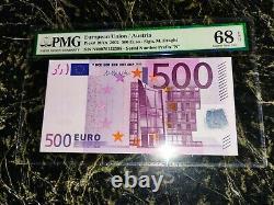 Euro 500 Banknote Pmg 68 M. Dragui Austria 2002 Prefix N Ultra Rare Top