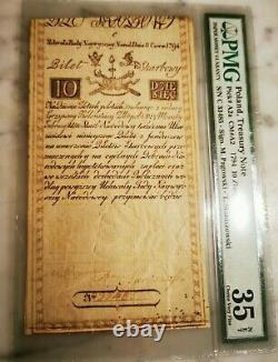 Extremely Rare Poland Lithuania Banknote of 10 Zloty 1794 PMG35