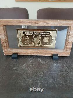 Extremely Rare! Walt Disney Scrooge McDuck $1 Gold Banknote LE Bar in Display