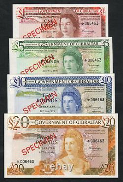 GIBRALTAR P-CS 1. 1975 Set 1,5,10 & 20 Pounds. Matching Serials. SPECIMEN