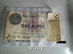 GOVERNMENT OF INDIA, KING GEORGE V 1917 ONE RUPEE BANK NOTE no 773412 ULTRA RARE