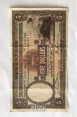 HONG KONG & SHANGHAI BANKING $5 5 Dollars April 1941 Series L RARE BANK NOTE