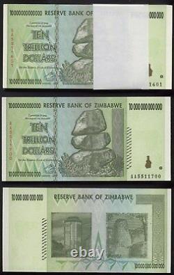 INVESTOREN-LOT 100 x ZIMBABWE 10 TRILLION BANKNOTE TRILLIONEN UNC
