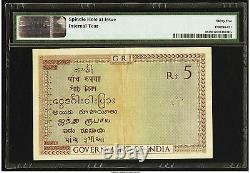 India Banknote Lot P-4b 1925 1941 5 Rupees VF+ PMG 35 British Administration