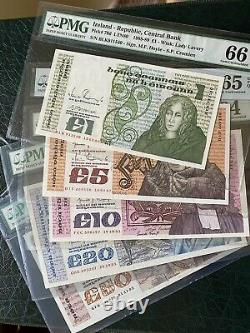 Ireland UNC B Series Banknote Set PMG