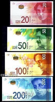 Israel 2014 2017 Full Set 20 50 100 200 Sheqel Nis Banknote Money Coins Unc