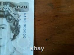 Kentfield Genuine Ten Pound Note Serial Number AA00 000000