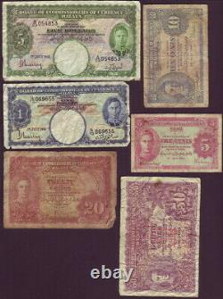 Malaya 1941 Six (6) Different Banknotes from 5 cents to $5