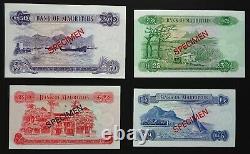 Mauritius 1978 Banknotes Specimen Set. 5, 10, 25 & 50 Rupees, Unc. Genuine