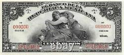 Mexico 5 Pesos 1918 Series A P 11s Specimen Uncirculated Banknote