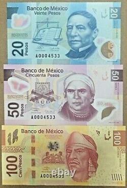 Mexico Complete Set 6 Banknotes, 20, 50, 100, 200, 500, 1000 Pesos. Type F. UNC