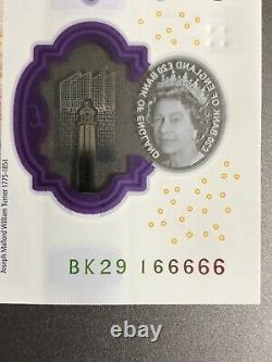 New £ 20 Pound Note Lucky Positive 6 Repeated Number 66666 Crisp Condition