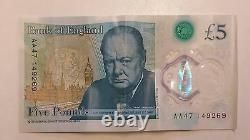 New £5 Pound Note AA47 Serial