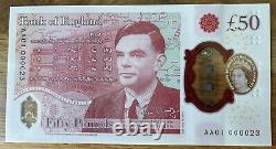 New Polymer £50 Note Extremely Low Serial Number AA01 Alan Turings Birthday