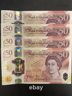 New Polymer £50 X4 Notes AA01 Alan Turing Issued 23/6/2021. Consecutive Serial