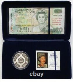 New Zealand 1996 $5 Proof Coin & $20 Overprint Banknote Set