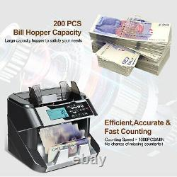 Note Counter Machine Money Currency Banknote Counting Detector Cash 200 Bills